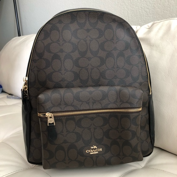 COACH CHARLIE LARGE BACKPACK IN SIGNATURE BROWN 0f72954398fa1